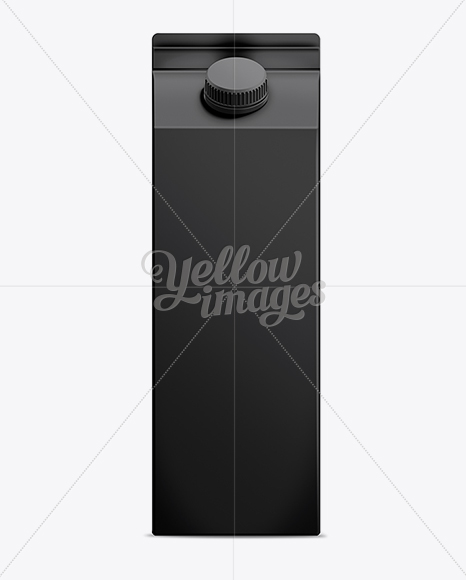 1L Black Milk Carton Box Mockup