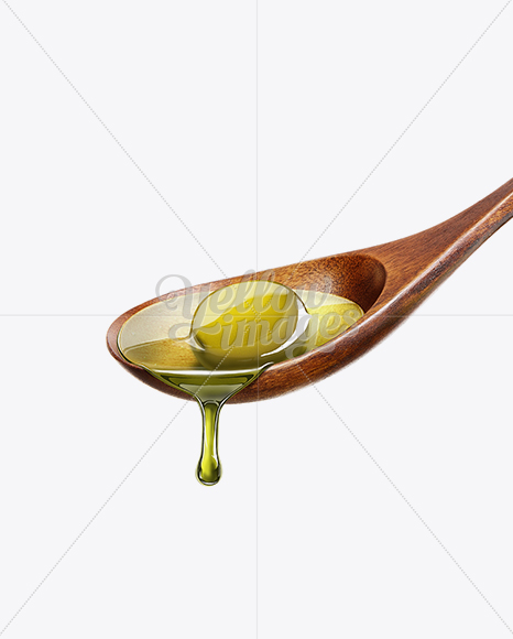 Wooden Spoon With Olive Oil and Olive