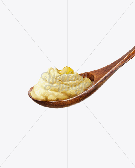 Wooden Spoon With Potatoe Puree And Butter