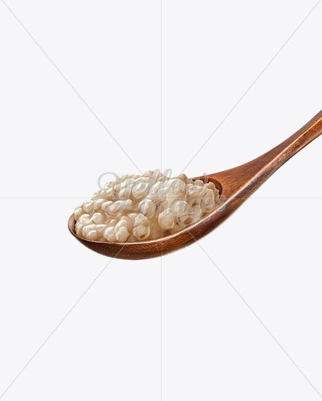 Wooden Spoon With Oatmeal Porridge