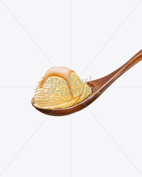 Wooden Spoon With Vanilla Ice Cream and Caramel Syrup
