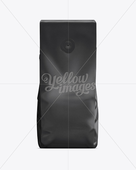 Download Coffee Bag With Valve Black In Bag Sack Mockups On Yellow Images Object Mockups PSD Mockup Templates