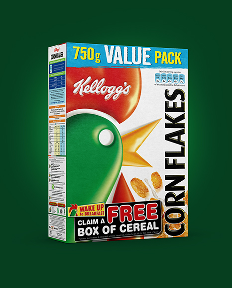Cereal Box Mockup - 25° Angle Front View (Eye-Level Shot)