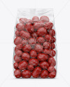 Clear Plastic Bag With Red Chocolate Dragee Mockup