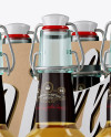 Kraft Paper 6 Pack Clear Bottle Carrier Mockup - Halfside View
