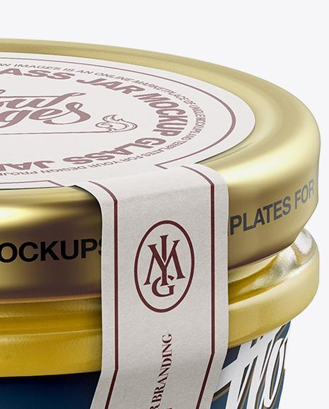 Glass Jar with Mustard Mockup - Halfside View