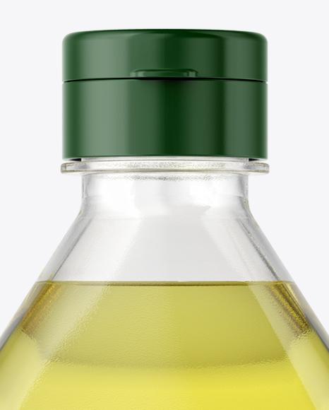 1L Clear PET Bottle with Olive Oil Mockup