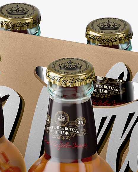 Kraft Paper 6 Pack Clear Bottle Carrier Mockup - Half Side View (High Angle Shot)