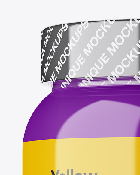 Glossy Protein Jar With Shrink Band Mockup