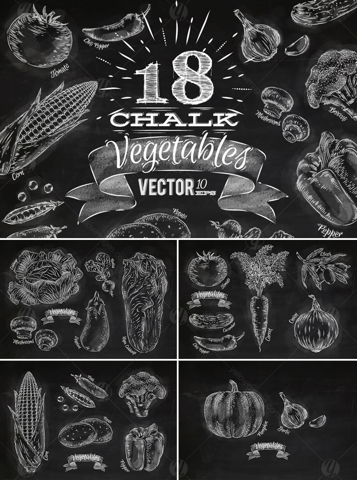 Vegetables Chalk Graphics
