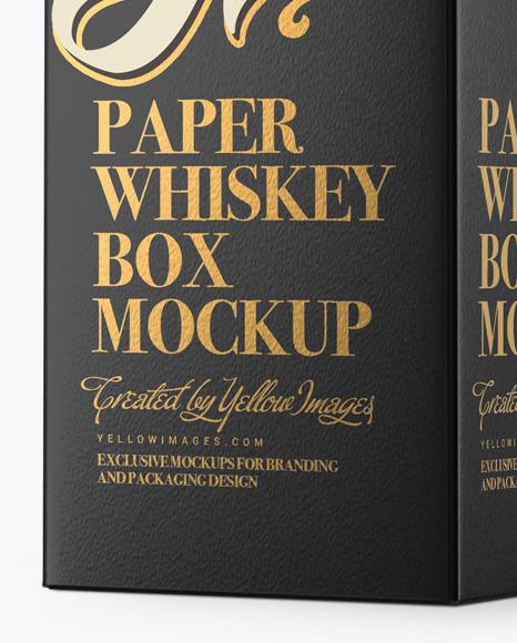Paper Whisky Box Mockup - Halfside View