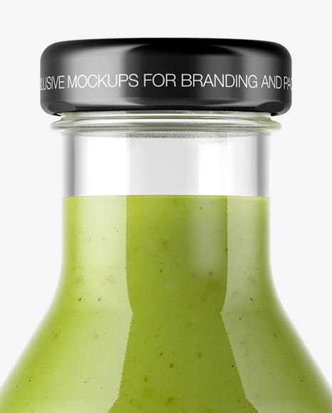 Clear Glass Bottle with Green Smoothie Mockup