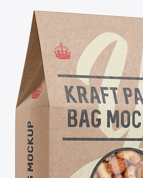 Kraft Paper Box W/ Window Mockup - Halfside View