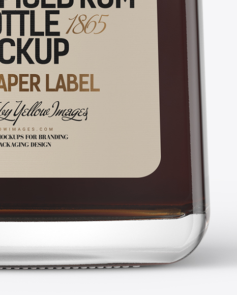 Square Clear Glass Bottle with Black Rum Mockup