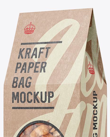 Kraft Paper Box W/ Window Mockup - Halfside View