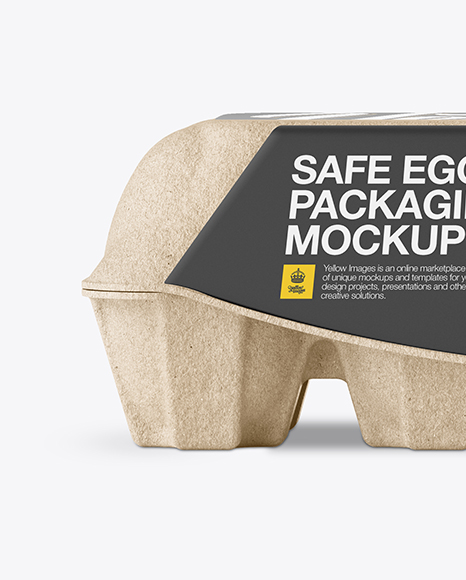 Kraft Egg Container Front View In Packaging Mockups On Yellow