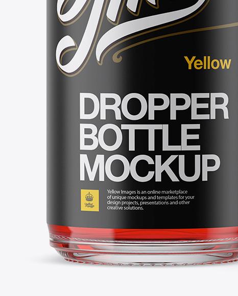 Open Clear Bottle With Dropper Mockup