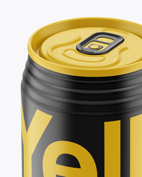 330ml Aluminium Can with Matte Finish Mockup (High-Angle Shot)