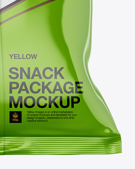 Glossy Snack Bag Mockup - Back View