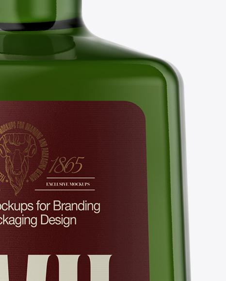 Square Green Glass Liquor Bottle Mockup