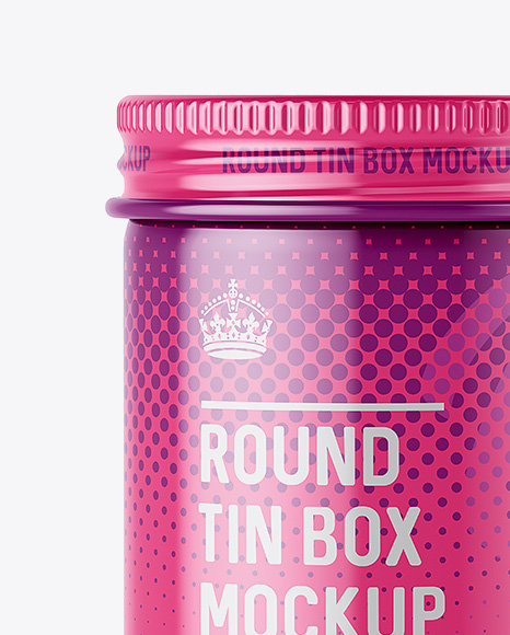 100ml Round Tin Box with Glossy Finish Mockup - Front View