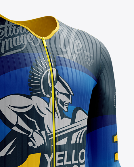 Download Mens Full Cycling Time Trial Kit Mockup Front View Yellow Images