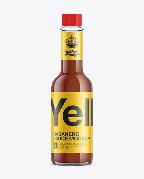 Habanero Sauce Mockup in Bottle Mockups on Yellow Images ...