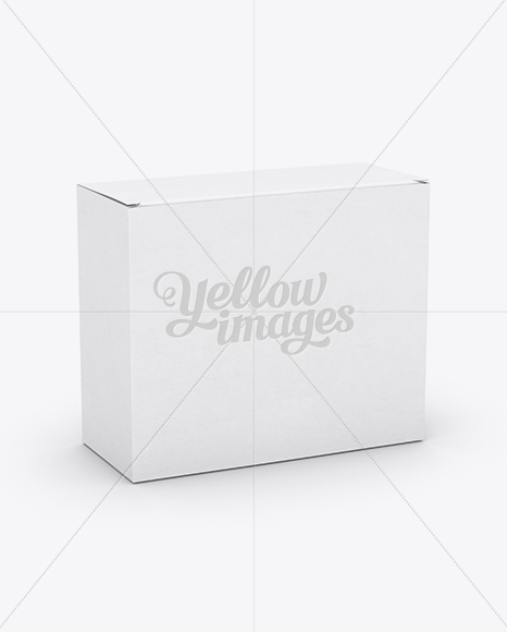 Small White Cardboard Box Mockup - 25° Angle Front View (High-Angle Shot)