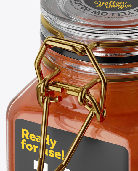 Download Clear Glass Jar With Apricot Jam Mockup High Angle Shot PSD - Free PSD Mockup Templates