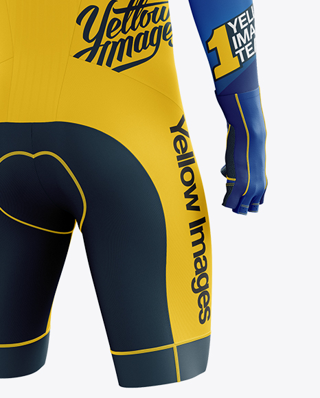 Download Mens Full Cycling Time Trial Kit Mockup Back View Yellow Images