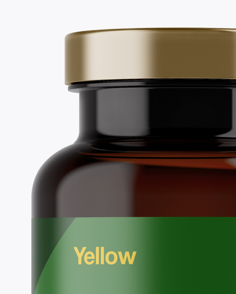 Amber Pill Bottle w/ Matte Label Mockup - Front View