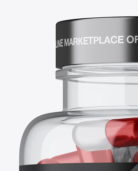 Clear Plastic Bottle With Metallic Pills Mockup