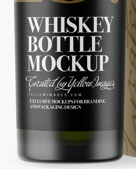 Green Frosted Glass Whiskey Bottle & Paper Box Mockup