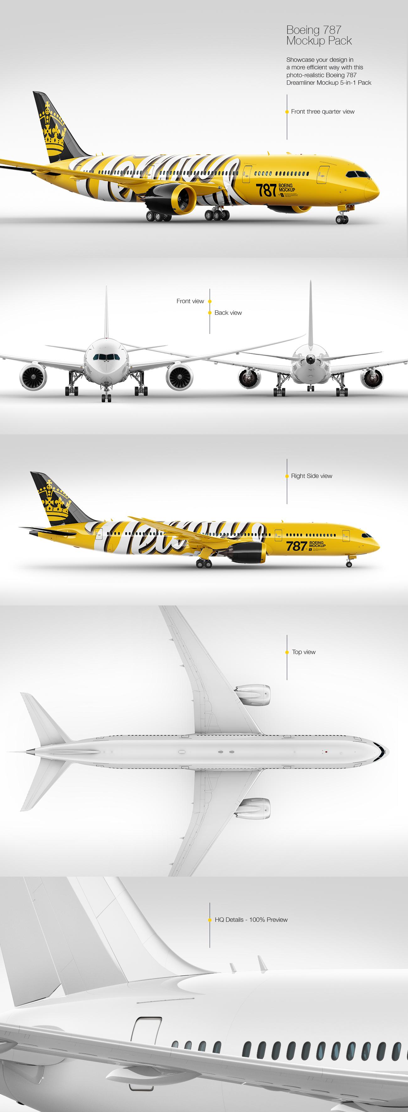 Boeing 787 Dreamliner Mockup Pack