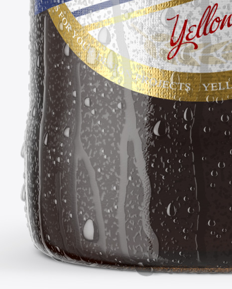 12 Oz Amber Beer Bottle With Condensation Mockup