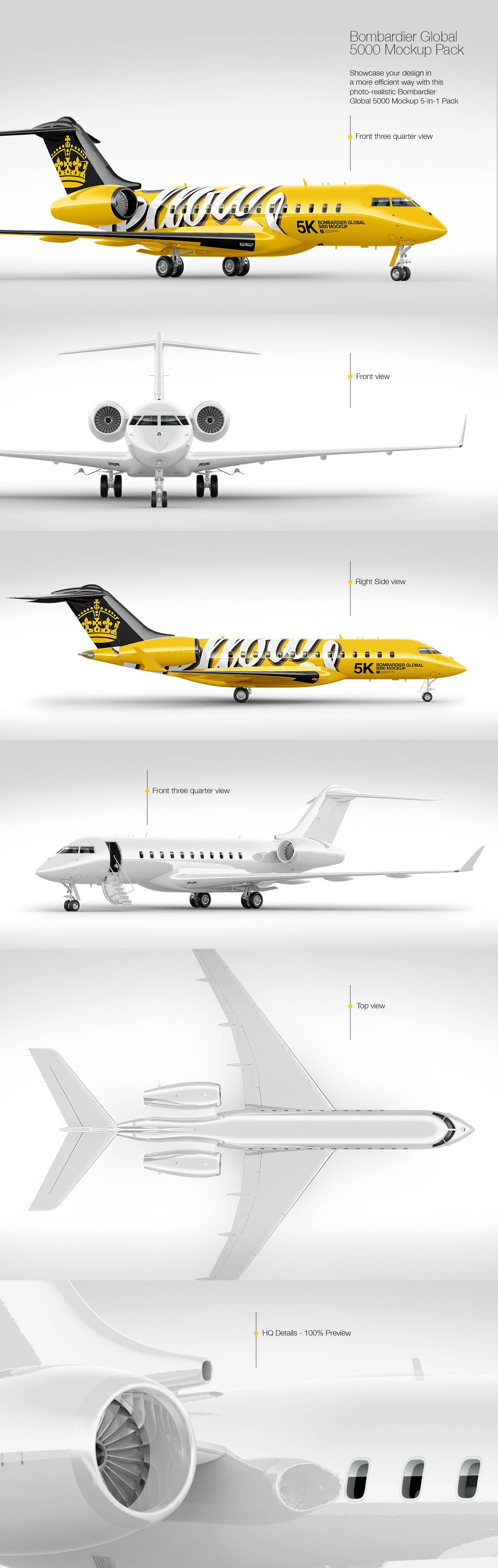 Bombardier Global 5000 Mockup Pack