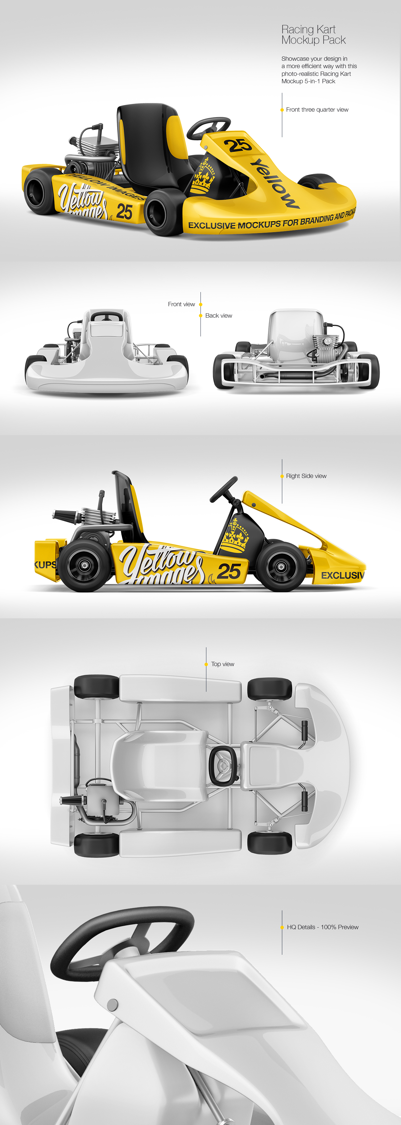 Download Racing Kart Mockup Pack In Handpicked Sets Of Vehicles On Yellow Images Creative Store PSD Mockup Templates