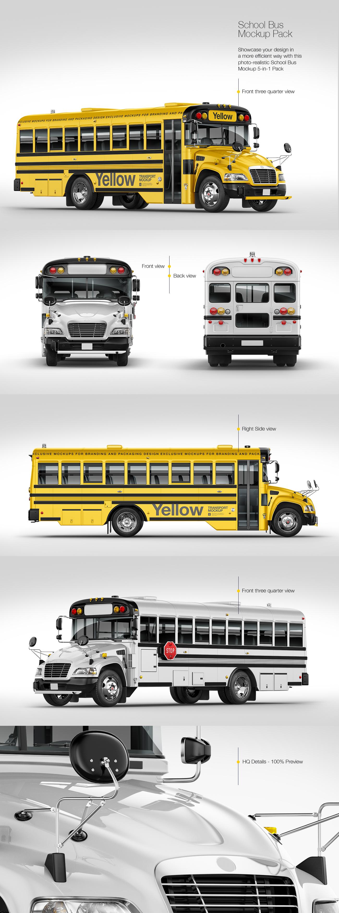 School Bus Mockup Pack
