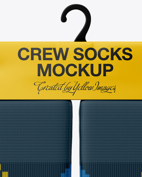 Pair Crew Socks Mockup Front View In Apparel Mockups On Yellow