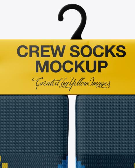Pair Crew Socks Mockup - Front View