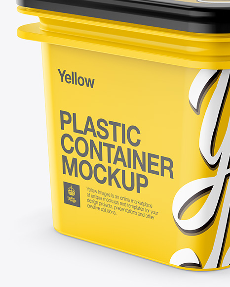Plastic Container Mockup - Half Side View