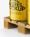 Wooden Pallet With 6 Metal Barrels Mockup - Half Side View