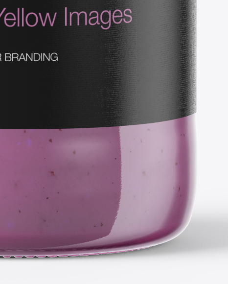 Clear Glass Bottle with Blueberry Smoothie Mockup