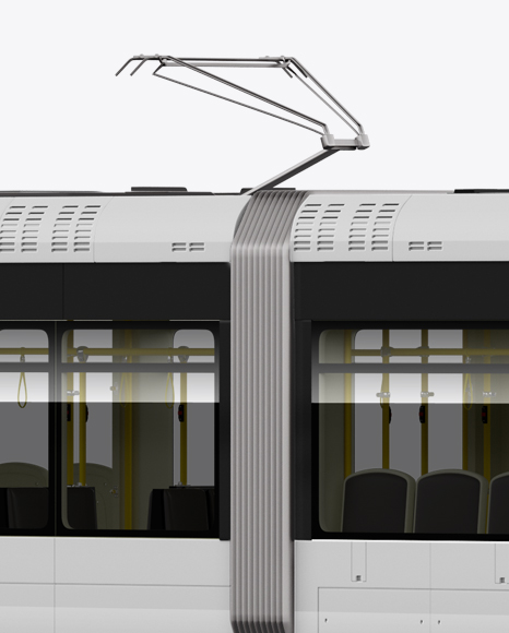 Light Rail Train Bybanen Mockup - Half Side View