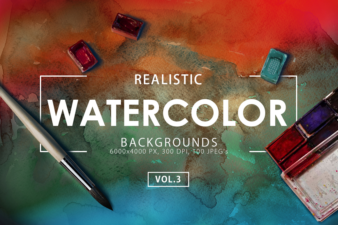 100 Watercolor Backgrounds Vol. 3