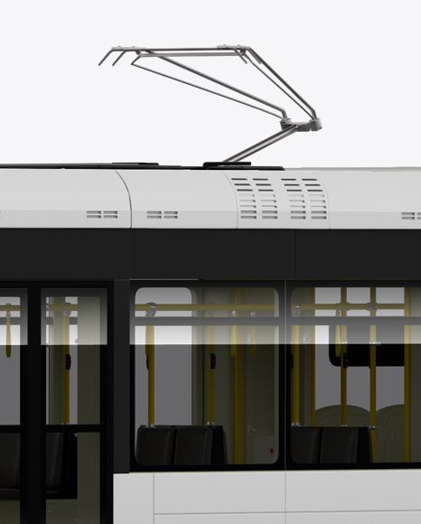 Light Rail Train Bybanen Mockup - Half Side View