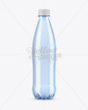 Blue PET Bottle With Water Mockup