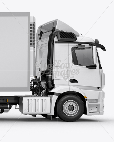 Refrigerator Truck HQ Mockup Right Side View