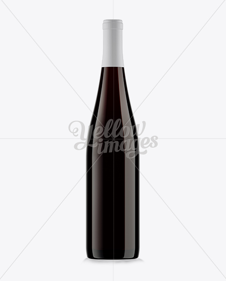 750ml Olive Green Glass Bottle With Red Wine Mockup