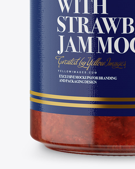 Glass Jar with Strawberry Jam Mockup - Front View